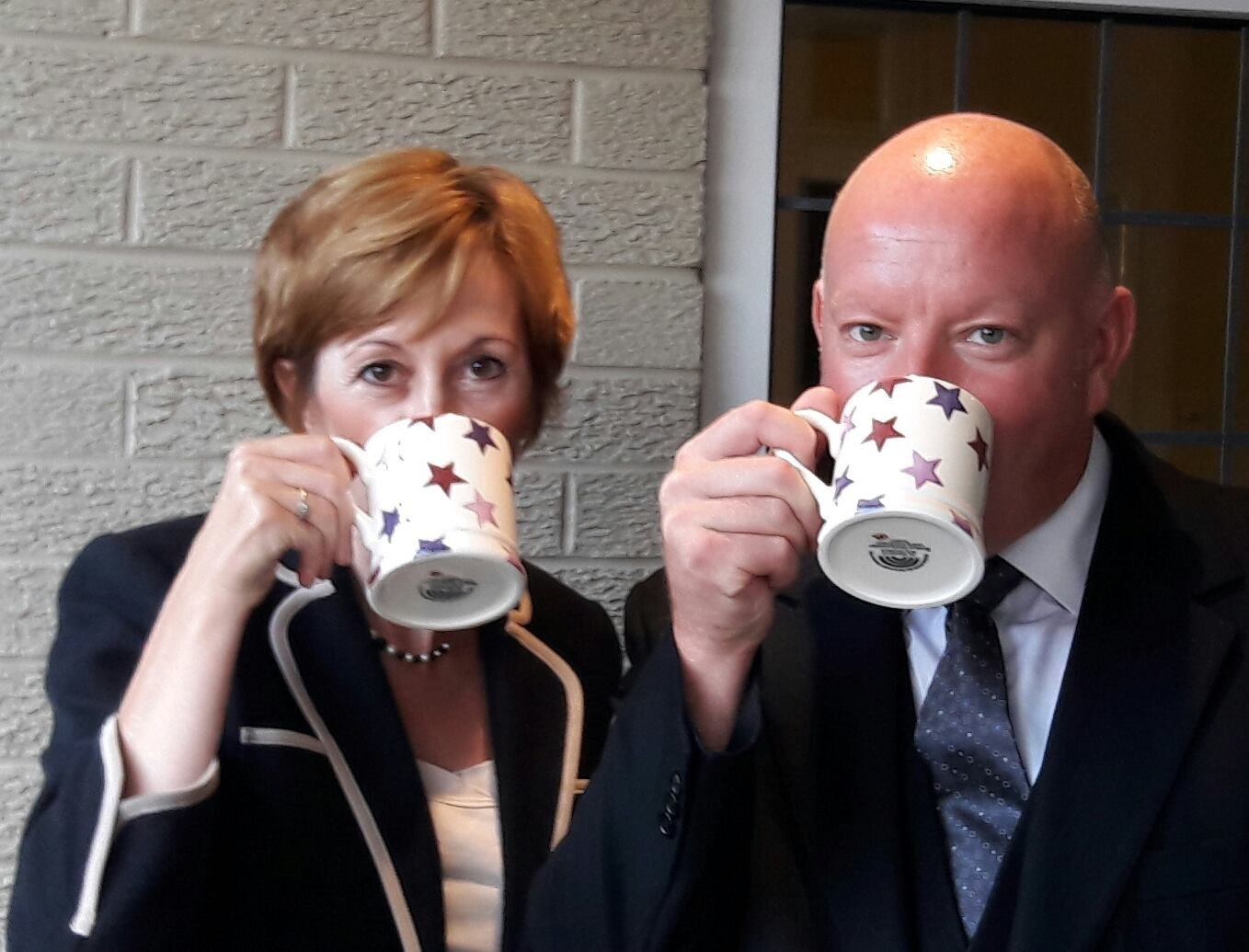 Carol and Andrew enjoying a cuppa