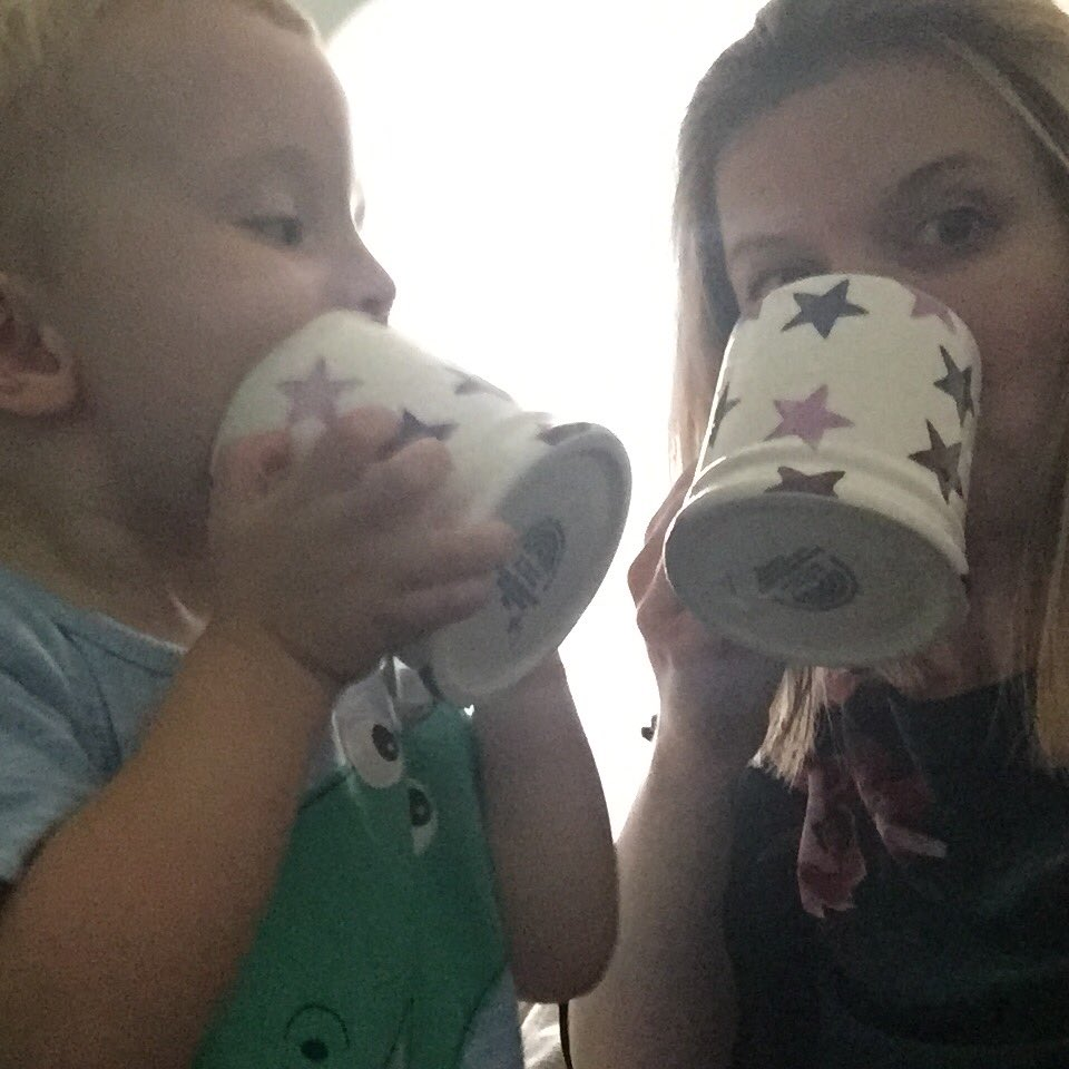 Leeann and her little boy enjoying a cuppa