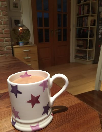 agood old brew in a lovely Purple Stars mug